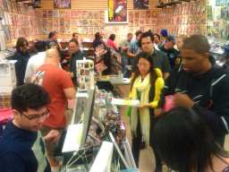 Fans pack Earth 2 Comics in Sherman Oaks, CA, on the eve of the release of AVENGERS VS X-MEN.