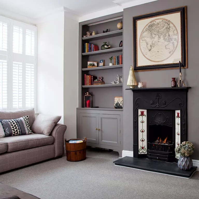 Grey living room ideas   Ideal Home Grey living room ideas feature wall