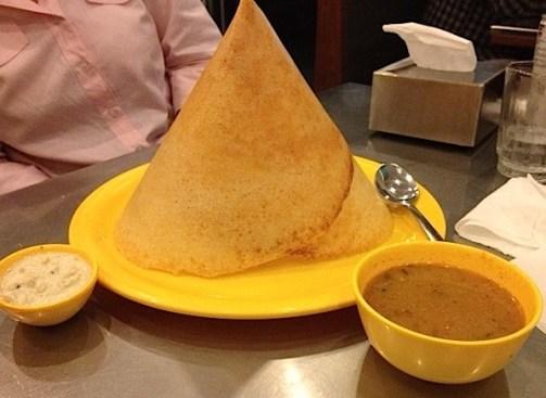 Dosa with sambar & coconut chutney
