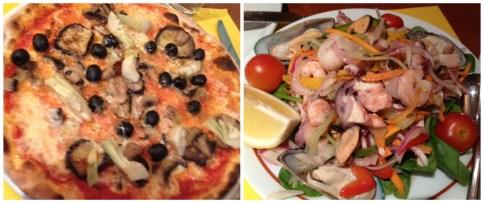 Veggie Pizza & Seafood Salad
