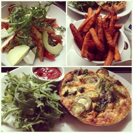 Cajun Chicken, Avocado & Squash Salad; Sweet Potato Fries; Chorizo Frittata
