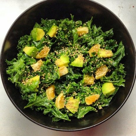 Sesame & Citrus Kale Salad with Avocado