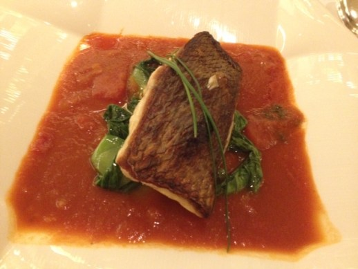 Sea bass with a Spicy Tomato-Orange Sauce & Pok Choy