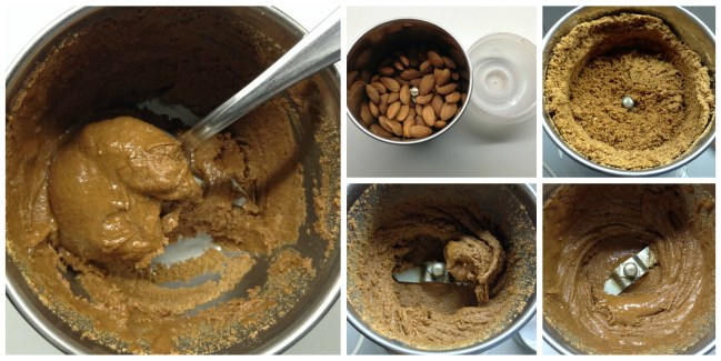 Almond butter proccess collage