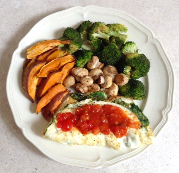 Spinach omelet, sweet potato fries & veggies