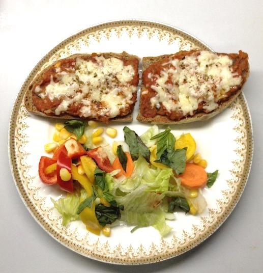 Pizza Tartine with Salad