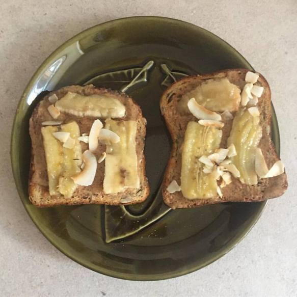 Almond Butter + Sauteed Bananas Toast