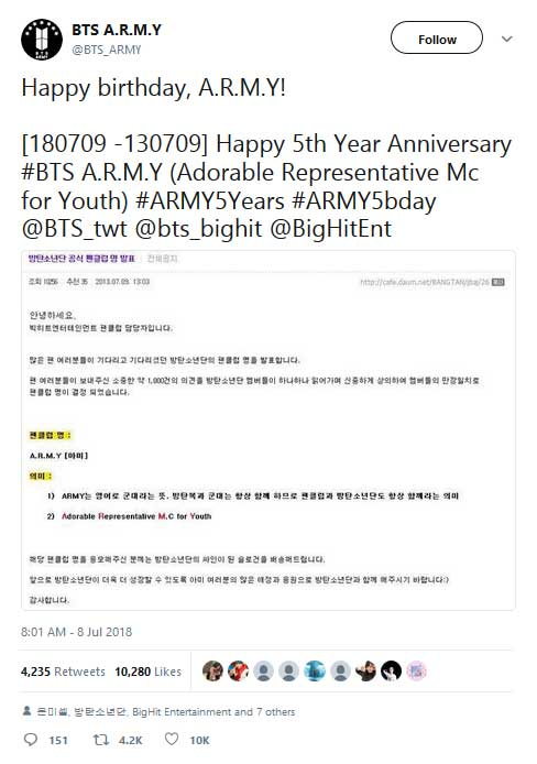 tanggal anniversary army fans bts