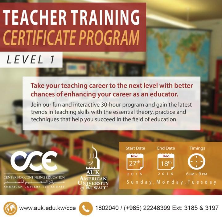 AUK CCE Teacher Training Certificate Program