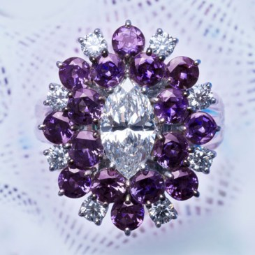Alexandrite / Diamond Ring AT159