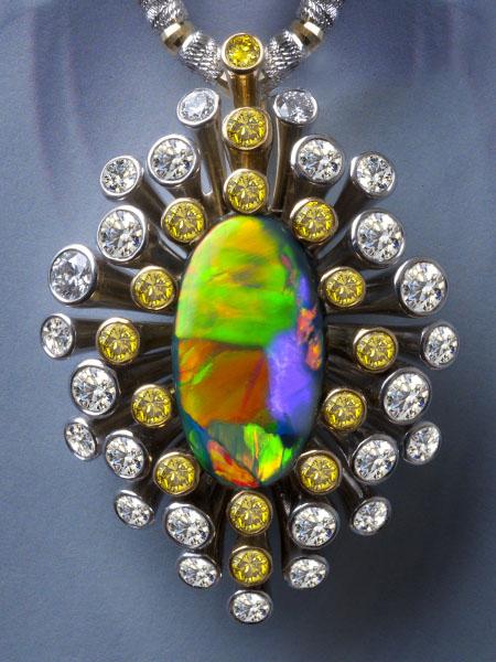 Black Opal Pendant AT188Black Opal 5.070 ctYellow Diamond 0.832 ctDiamond 1.638 ct