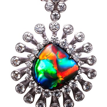 BLACK OPAL PENDANT BC6368 BLACK OPAL 4.570 ct DIAMOND 2.160 ct PLATINUM 900