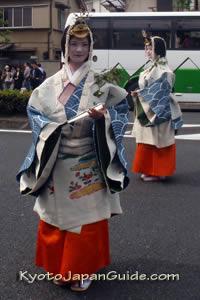 Women in Heian-Era custumes in hollyhock festival