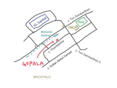 map to Brickfield, Kuala Lumpur