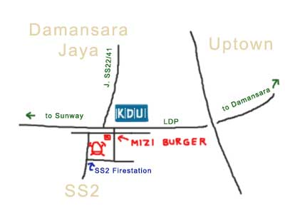 Mizi Burger, map to SS2 Fire Station