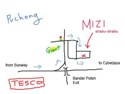Map to Mizi Shabu Shabu at Puchong
