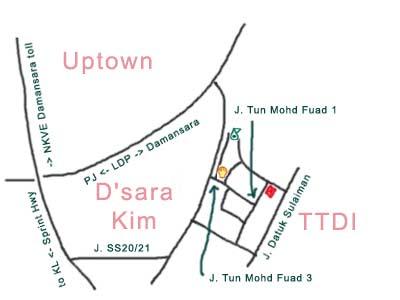 map to Restaurant Yon Lee, TTDI