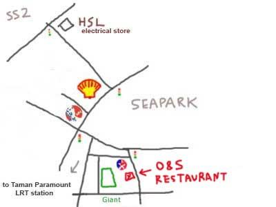 map to restaurant O&S, taman paramount