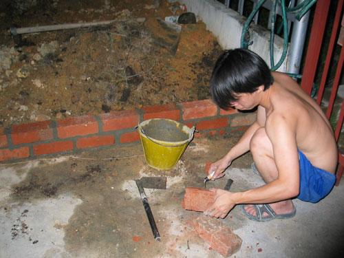 brick work to elevate the garden