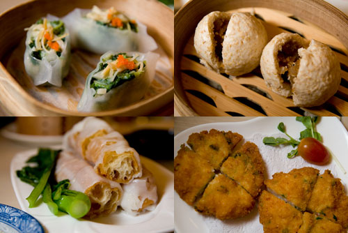 steamed pea-sprout dumpling with scallop, steamed wheat buns, chee cheong fun with yau char kuai, cuttled fish pancake