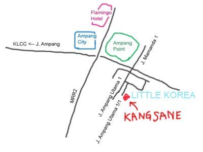 Map to Little Korea, Ampang, Kuala Lumpur