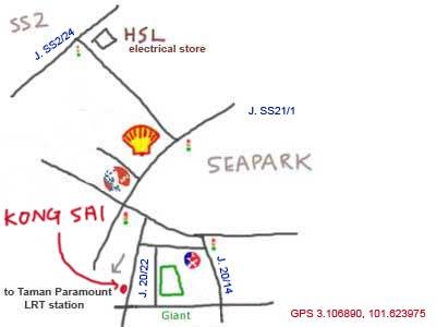Map to Kong Sai at Taman Paramount