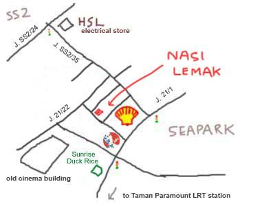 Map to PJ Seapark, Nasi Lemak