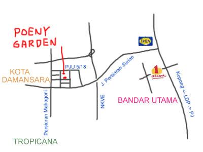 map to Poeny Garden at Kota Damansara