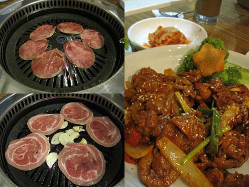 ox tongue, pork belly, and pork bulgogi
