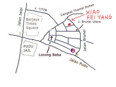 map to xiao fei yang steamboat at Pudu