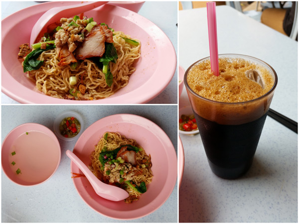 authentic kolo mee and look at that iced coffee