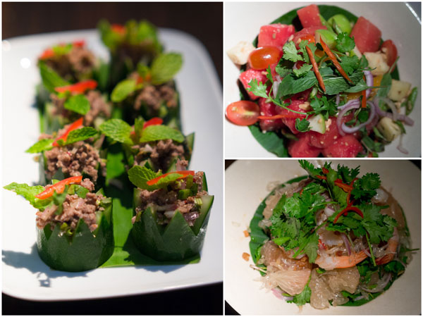 minced beef in cucumber, watermelon salad, pomelo salad