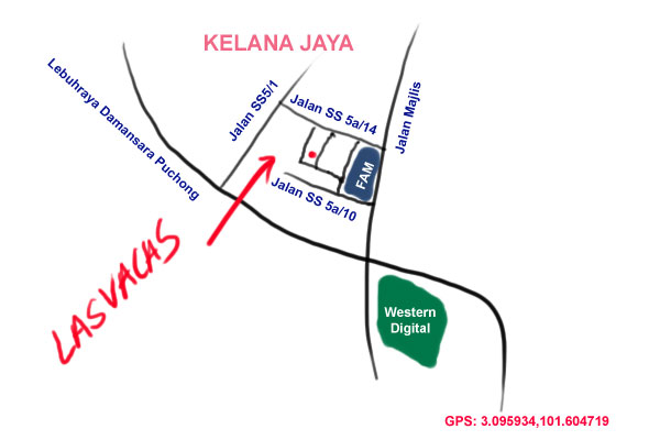 map to Las Vacas, Kelana Jaya