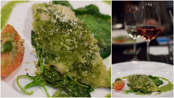 seabass with fine herb crust on spinach bed