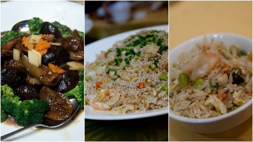stewed sea cucumber & mushroom with broccoli, seafood fried rice with XO sauce