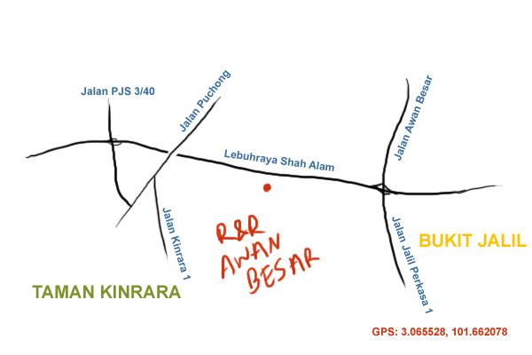 map to R&R Awan Besar