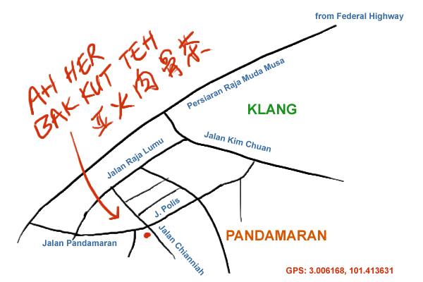 map to Ah Her bak kut teh, Klang