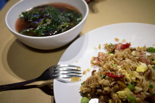 a complete meal - bacon fried rice and red spinach soup