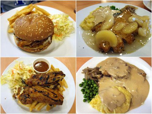 pork burger, pork chop with apple sauce, pork belly, pork chop with gravy