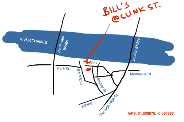 map to Bill's restaurant at Clink St, London