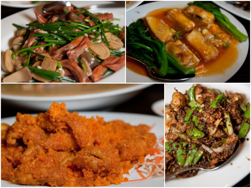 duck tongue, steamed tofu, squid with salted egg, frogs in XO sauce