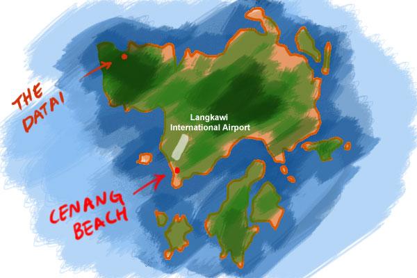 map to Cenang beach, Langkawi
