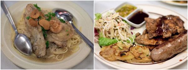 some chicken pasta, grilled pork tenderloin and sausage