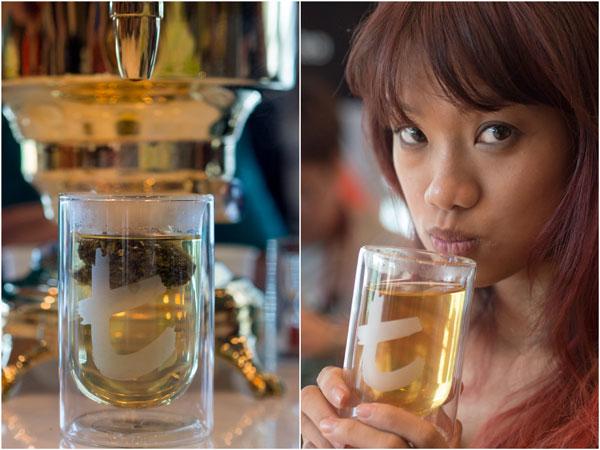 Haze enjoying a cup of premium tea