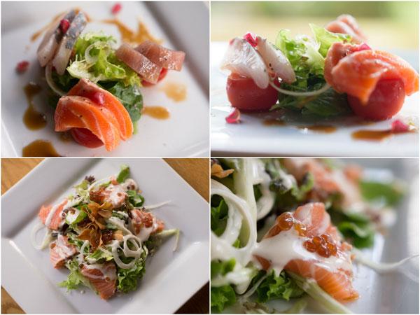 chef's sashimi selection, salmon tataki salad