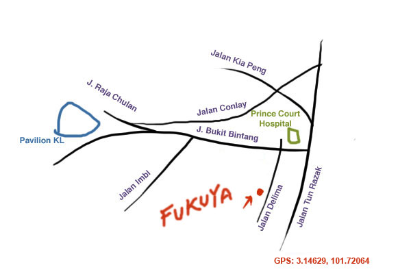 map to Fukuya Japanese restaurant, KL
