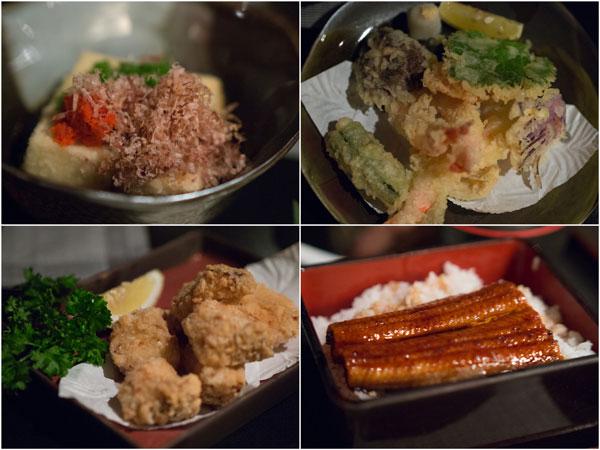 Agedeshi tofu, Tempura, Karaage, Unagi rice