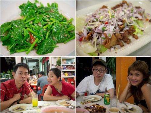 "kailan ikan masin, ""siam bak"" or Thai style pork belly"