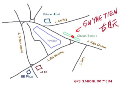map to Gu Yue Tien at Chulan Square