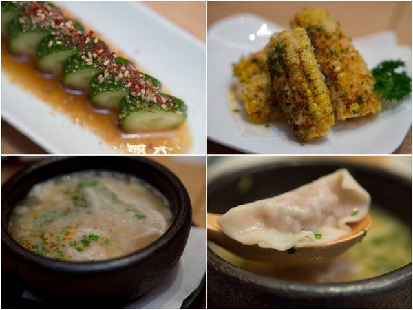 goma Q, crispy corn, hakata style soup gyoza